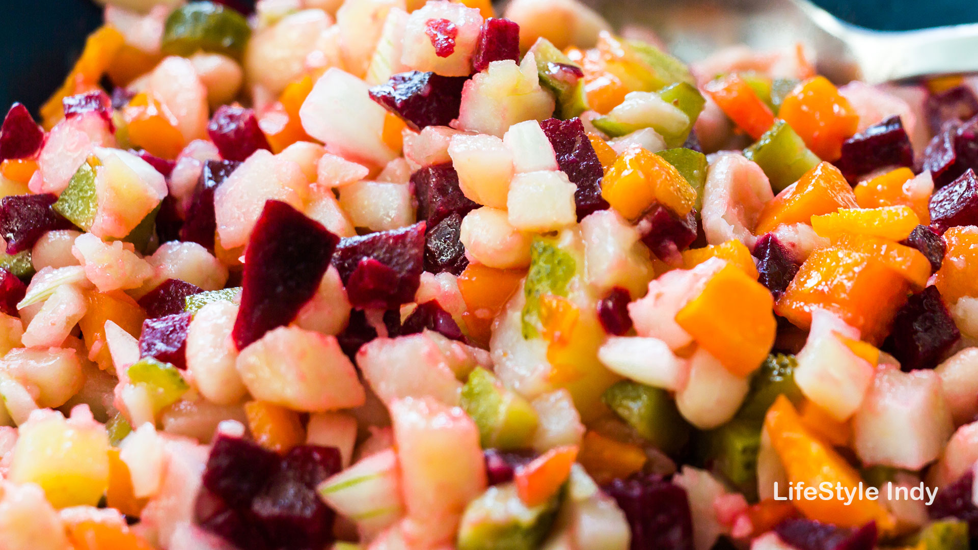 Salad with beetroots, carrots and potatoes